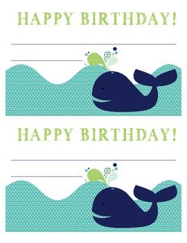 Whale Happy Birthday Certificate- Birthday Card