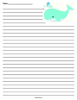 Whale Lined Paper