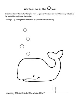 Whale Math Activity with Letter O