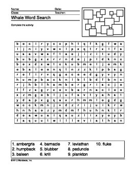 Whale Word Search Printable