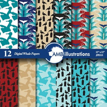 Digital Papers, Whale digital paper and backgrounds, Nauti