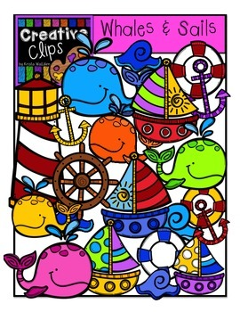 Whales and Sails {Creative Clips Digital Clipart}
