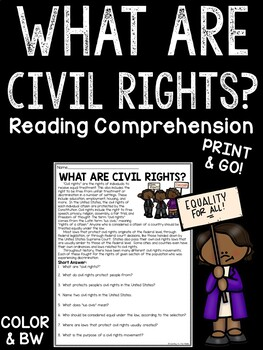What Are Civil Rights? Reading Comprehension Article with