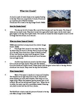 What Are Clouds? - Informational Text Test Prep