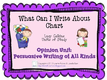 What Can I Write About Chart-Lucy Calkins: Opinion Unit: P
