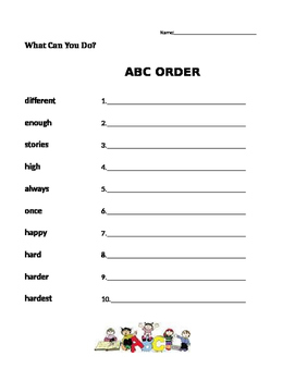 What Can You Do?  Journeys 1st Grade - ABC Order