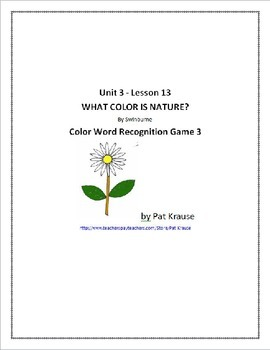 Color Word Recognition - Game 3 WHAT COLOR IS NATURE?