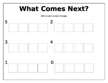 """What Comes Next?"" Number Sequence Activity Sheet"