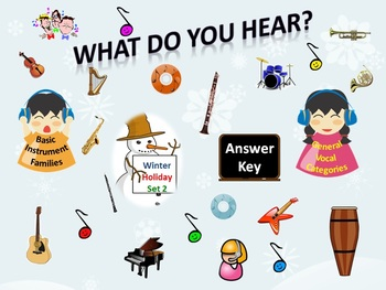 """""""What Do You Hear?"""" Answer Key Winter Holiday Set 2: Instr"""