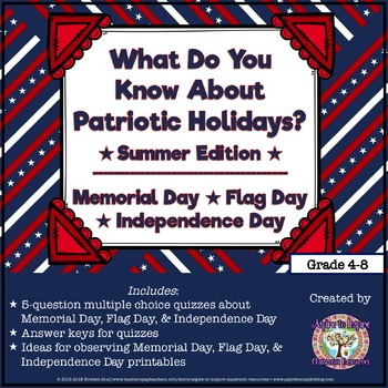 FREEBIE What Do You Know? Memorial Day, Flag Day, and Inde