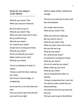 What Do You Mean? Question Forms Song Lyric Study ESL Just