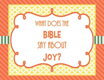 What Does the Bible Say About Joy - Bible Lesson Task Cards