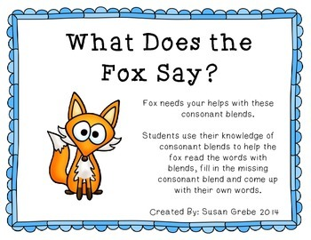 What Does the Fox Say? ~  Consonant Blends Game