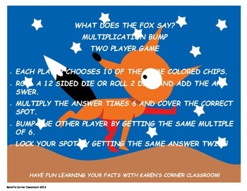 What Does the Fox Say Multiplication Basic Facts Practice 2-9's