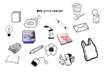 What Goes in Each Bin? Rubbish / Trash Activity Sheet