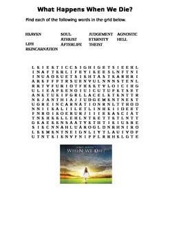 What Happens When We Die Word Search