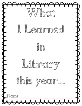 What I Learned in Library This Year end of the year book packet