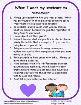 What I Want My Students to Remember
