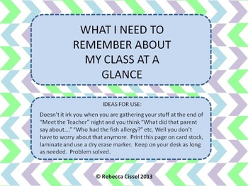 What I need to remember about my class at a glance