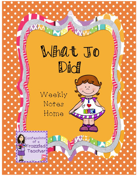 What Jo Did Weekly Take Home Letters (Scott Foresman Readi