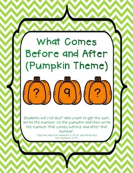 What Number Comes Before and After? (Pumpkin Theme)