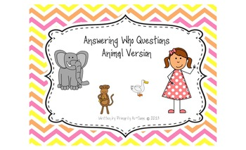 What Questions Speech Practice Task Animal Version (File Folder)