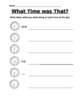 What Time Was That? - Telling Time Worksheet