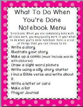 What To Do When You're Done Notebook Menu