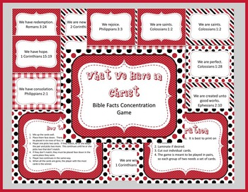 What We Have in Christ Bible Concentration Game