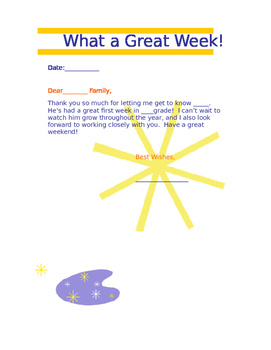 What a great week!  Note to send home (editable)