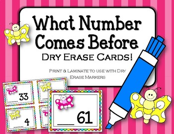 What comes before the number.  Dry Erase Cards. Math Cente
