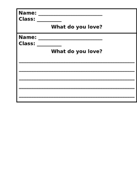 What do you love? Writing for Valentines Day. FREE