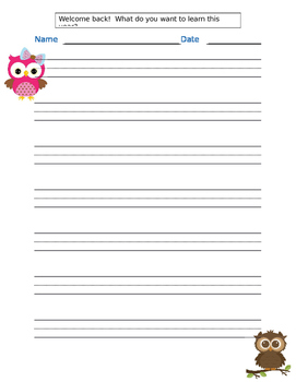 What do you want to learn this year? Owl theme