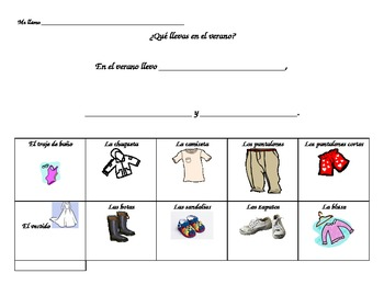 What do you wear in the summer Spanish worksheet for 1st-3