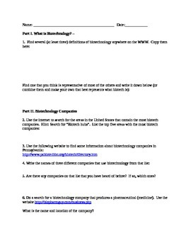 What is Biotechnology? Webquest