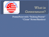 Introduction to Government PowerPoint with Cloze Notes Handouts