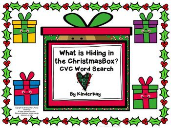 What is Hiding in the Christmas Box? CVC Word Search