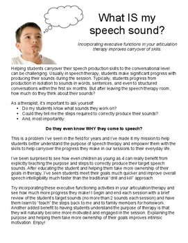 What is My Speech Sound? Incorporating executive functions
