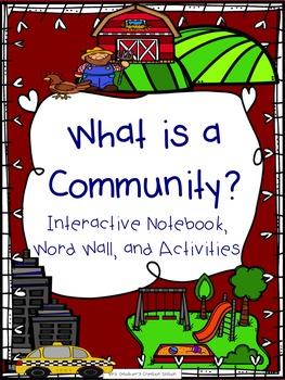 Communities Interactive Notebook, Word Wall, and Activities