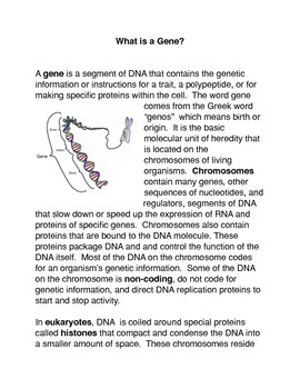 What is a Gene? Common Core activities
