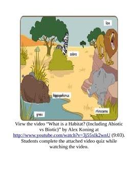 What is a Habitat? Video Quiz Activity