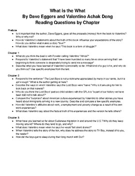 What is the What by Dave Eggers, complete chapter response