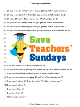 What number am I lesson plans, worksheets and other teachi