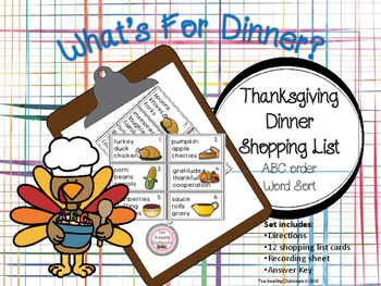 What's For Dinner? A Thanksgiving ABC Order Activity