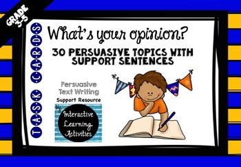 Persuasive Opinion Writing Task Cards