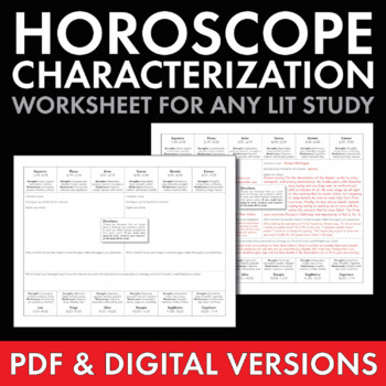 What's Your Sign? Fun Characterization Activity, Use with
