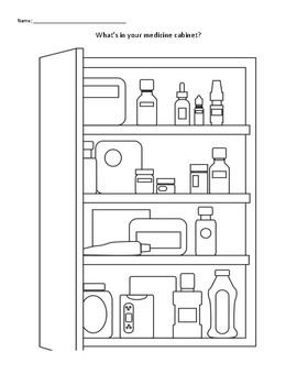 What's inside your medicine cabinet? coloring worksheet