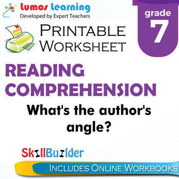 What's the Author's Angle? Printable Worksheet, Grade 7
