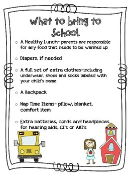 What to Bring to Preschool