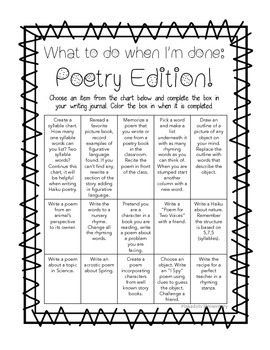Freebie: What to do when I'm done: Poetry Edition! Journal